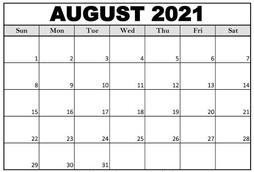 August 2021 Blank Calendar PDF