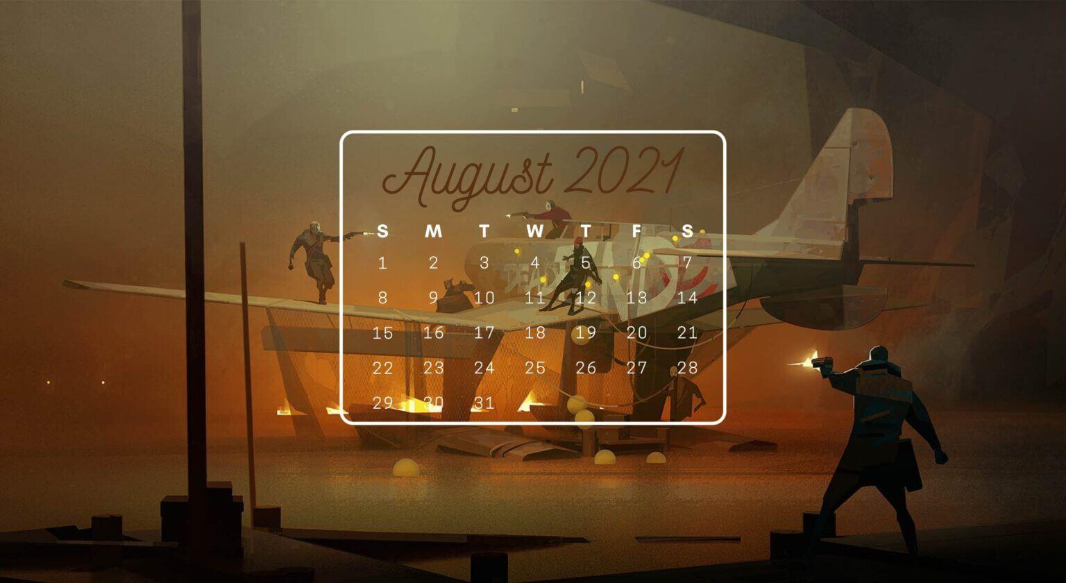 August 2021 Calendar Screensaver