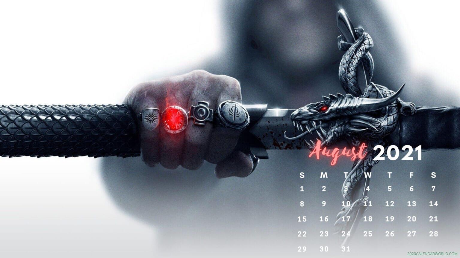 August 2021 Calendar Wallpaper for iPhone