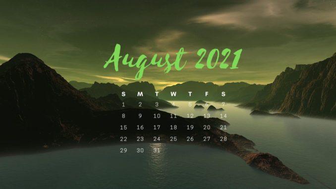August 2021 Desktop Background Calendar