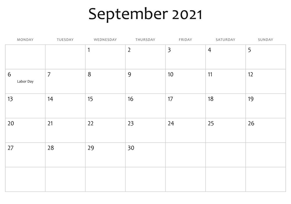 Blank Calendar For September 2021 Printable