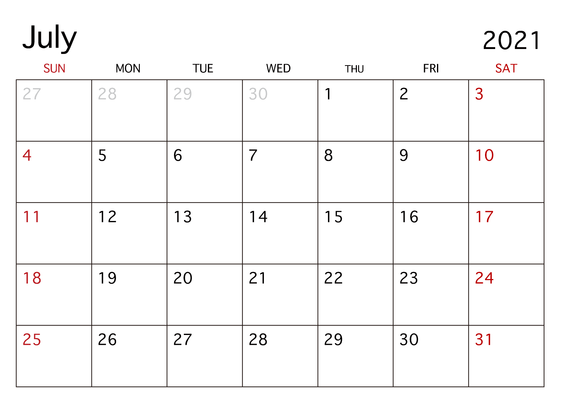Blank Calendar July 2021
