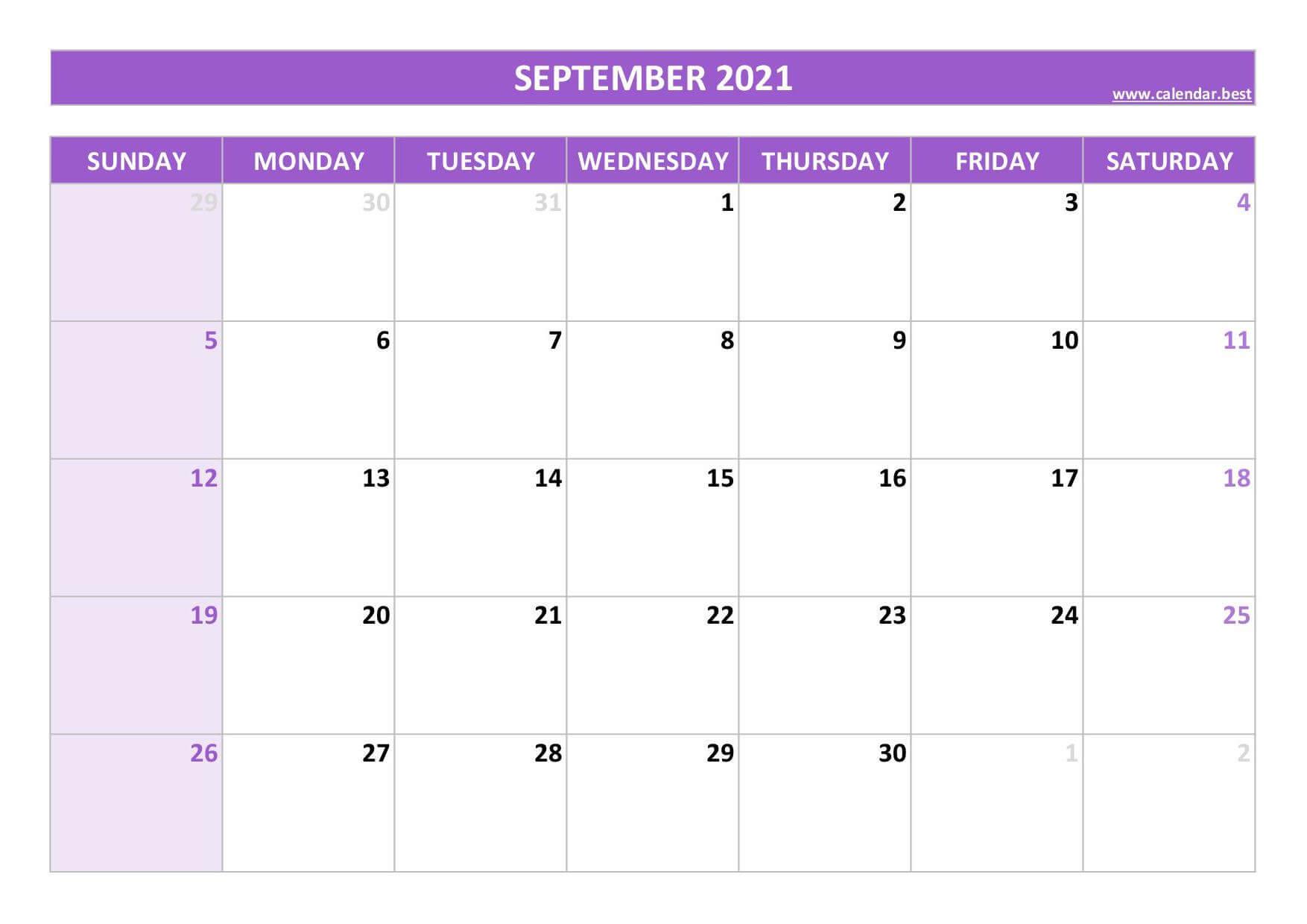 Blank September Calendar 2021