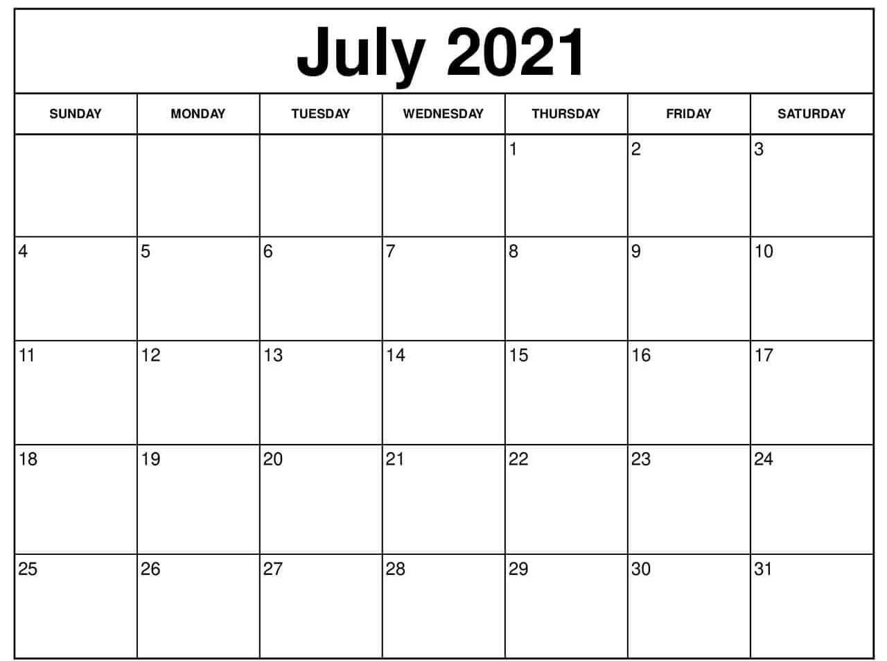 Calendar For July 2021 Printable
