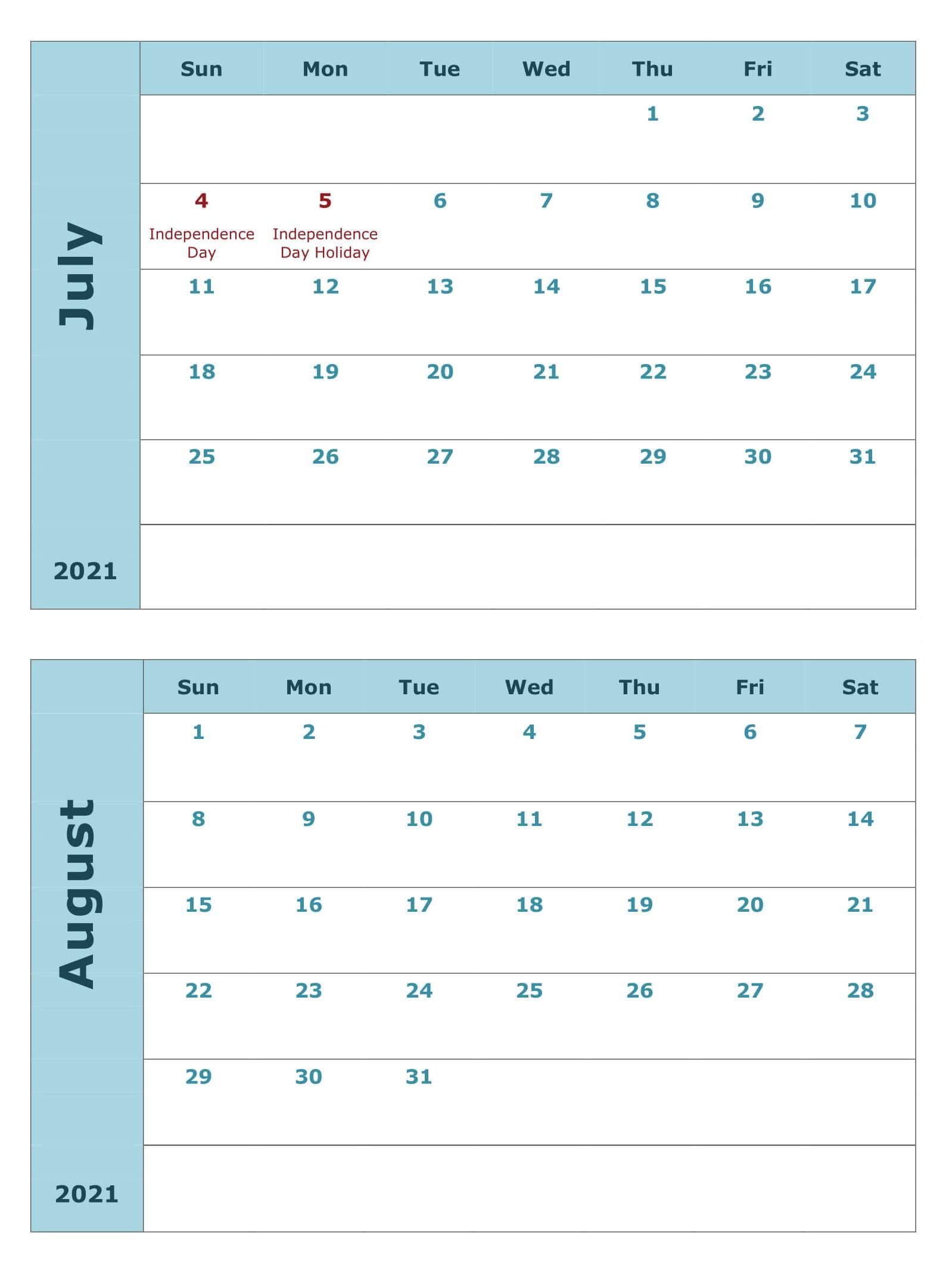 Calendar For July August 2021