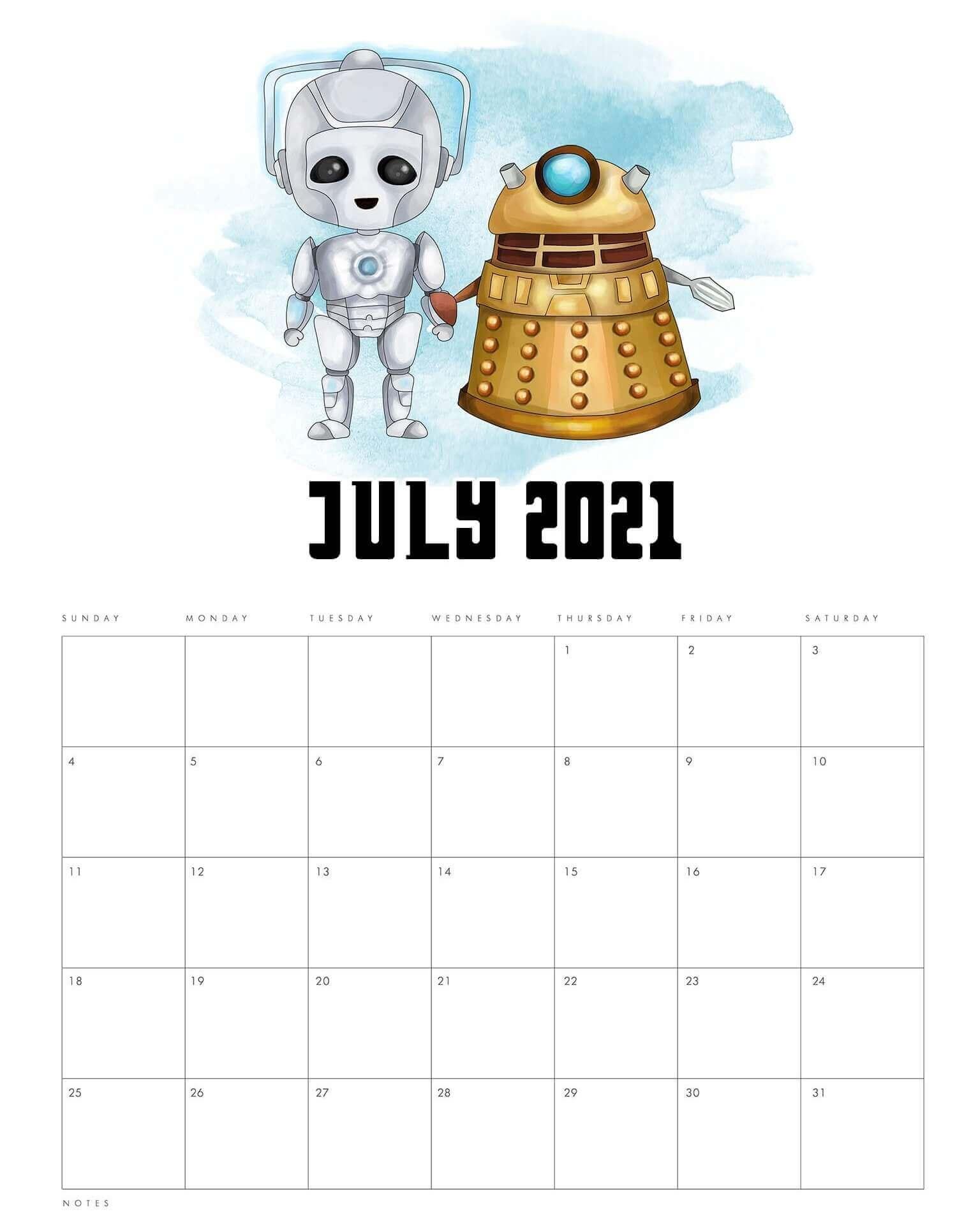 Cute Calendar For July 2021