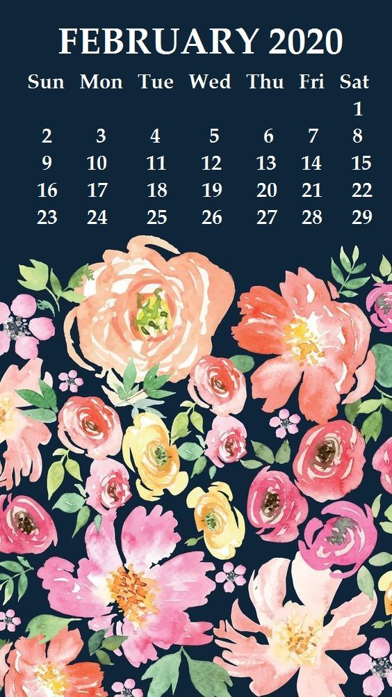 Cute February 2020 iPhone Calendar