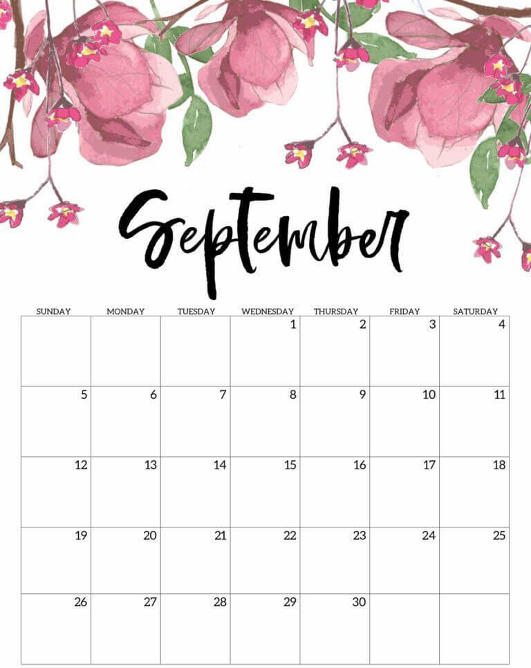 Cute September 2021 Calendar Floral