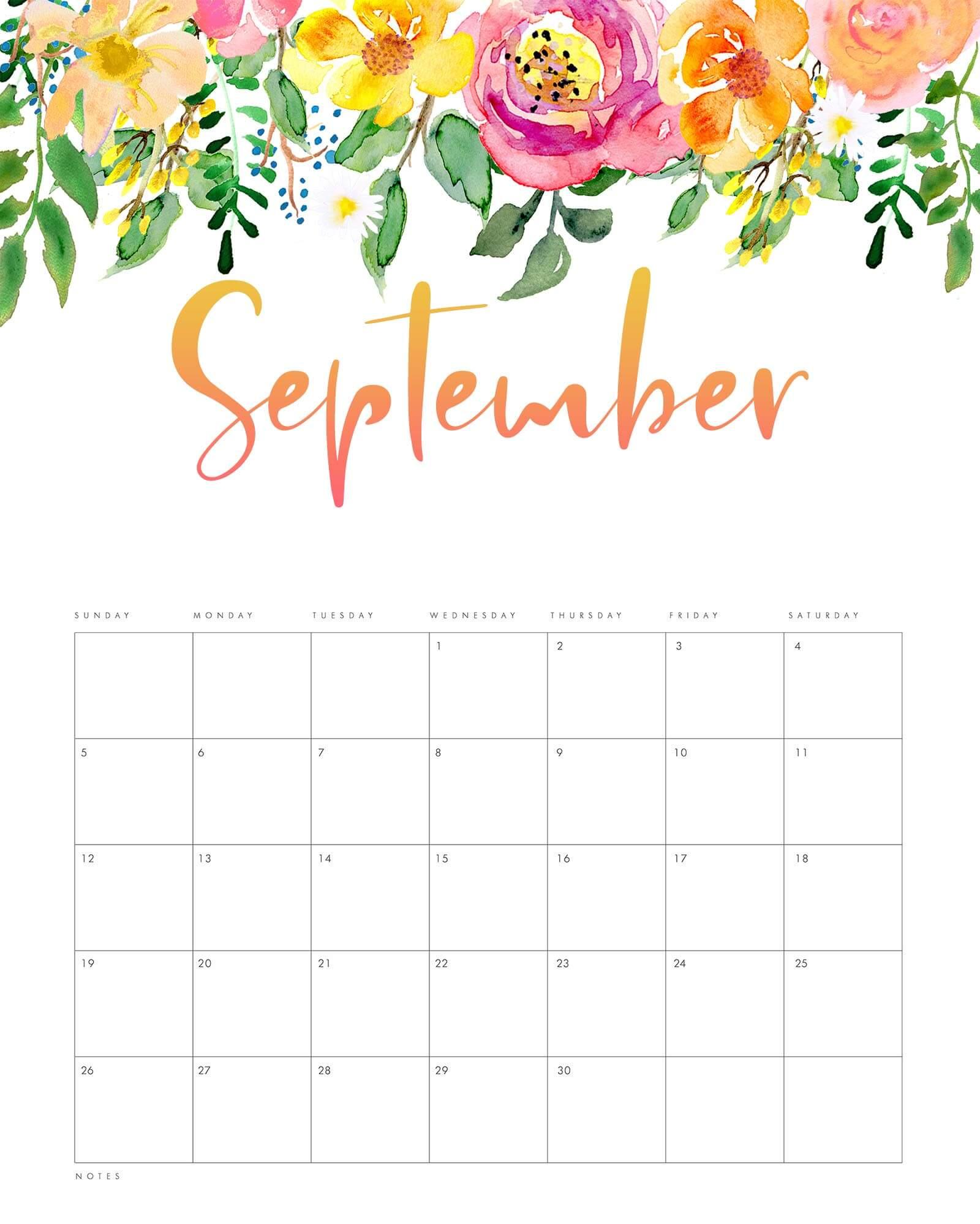 Decorative September 2021 Calendar Floral
