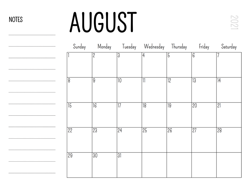 Editable August 2021 Calendar with Notes