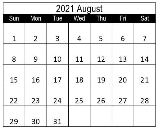 Editable Calendar August 2021