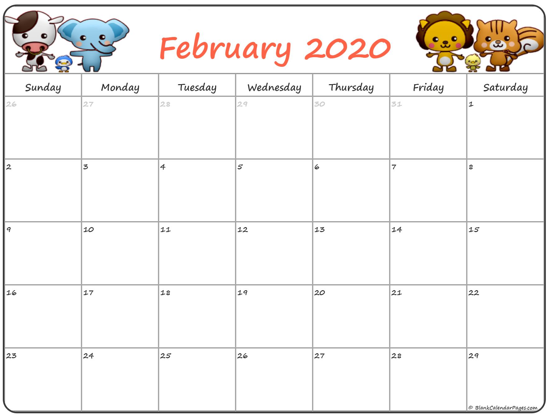 February 2020 Cute Calendar Floral