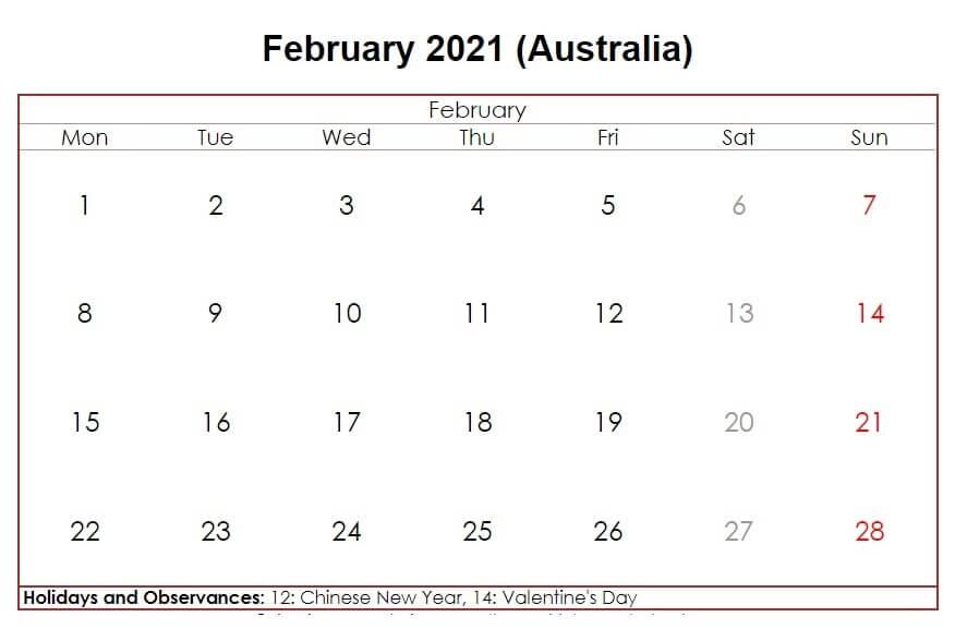 February 2021 Australia Holidays Calendar