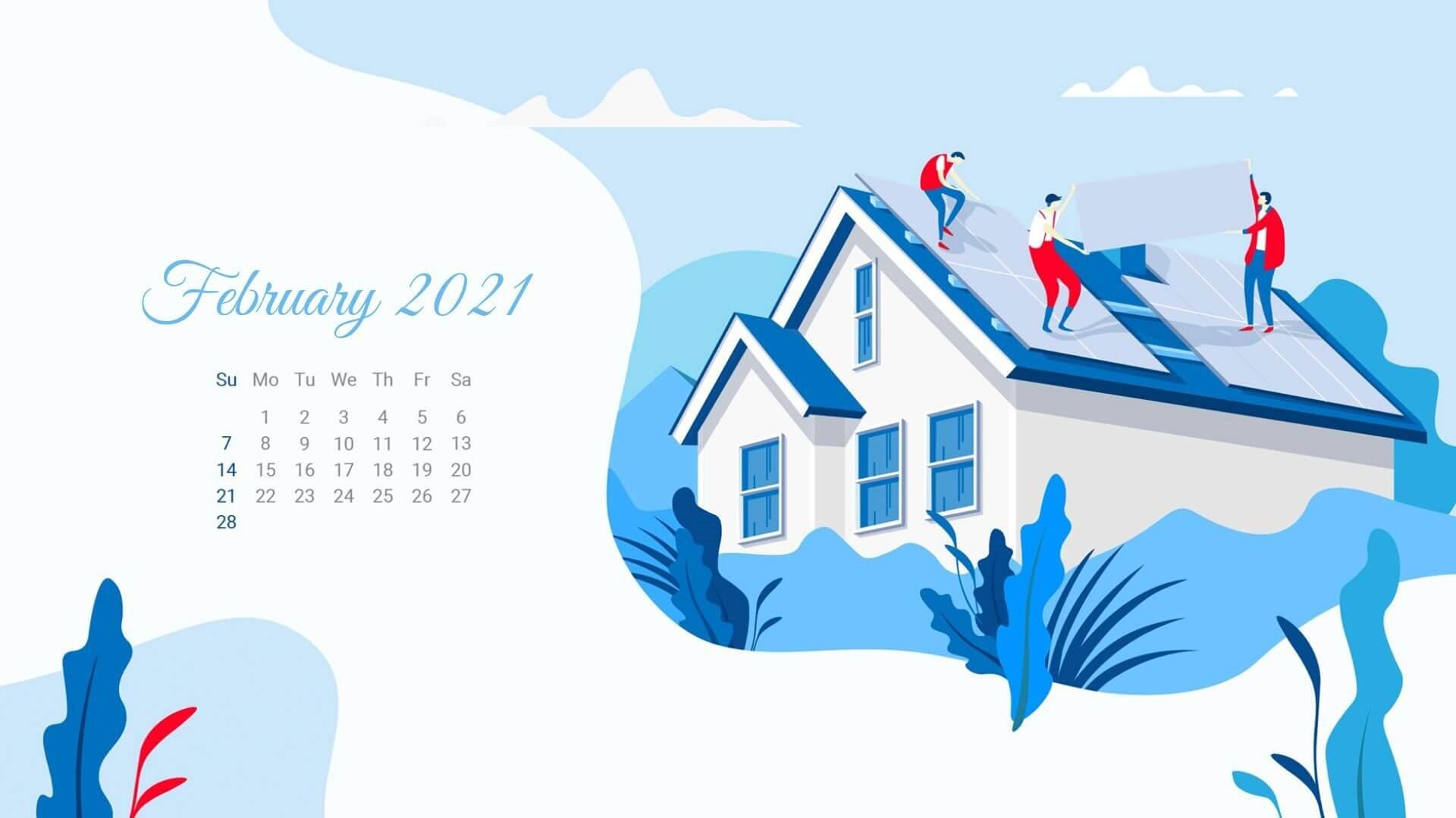 February 2021 HD Calendar Wallpaper
