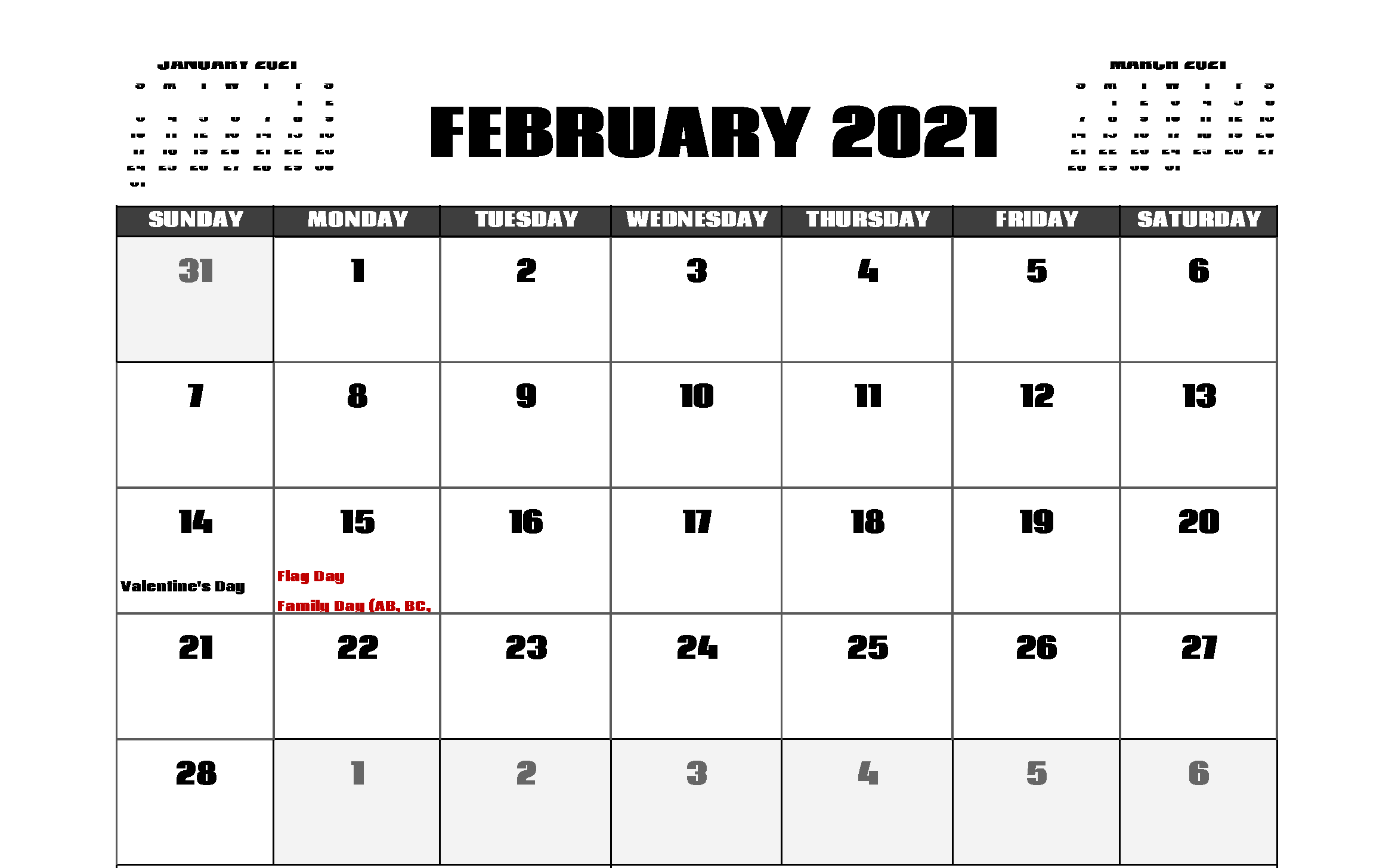 February 2021 Holidays Calendar Template