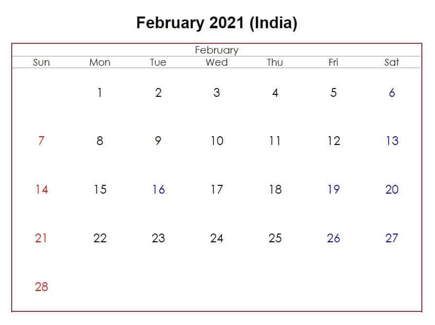 February 2021 India Holidays Calendar