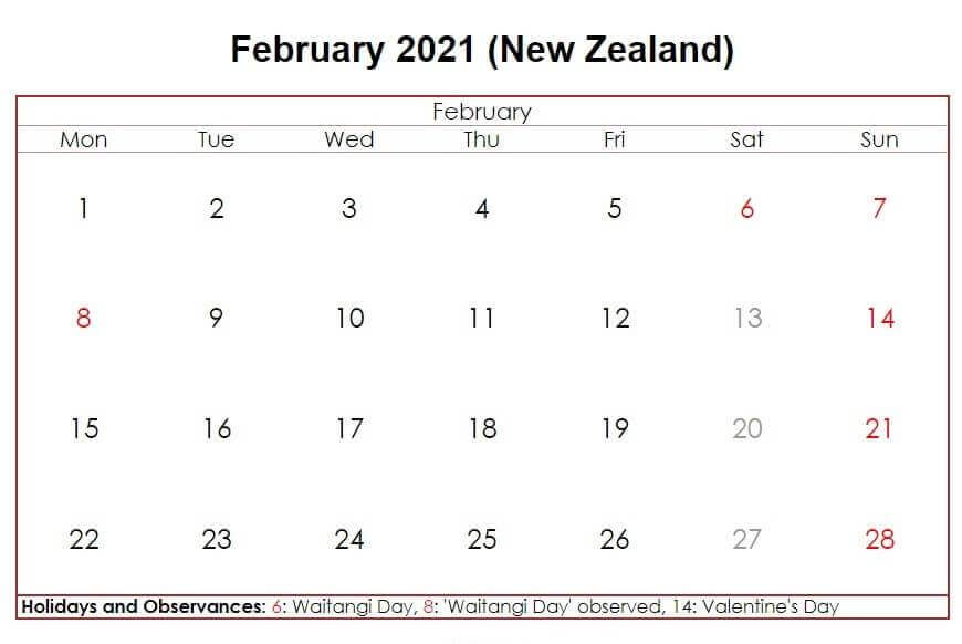 February 2021 New Zealand Holidays Calendar