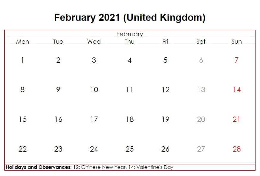February 2021 UK Holidays Calendar
