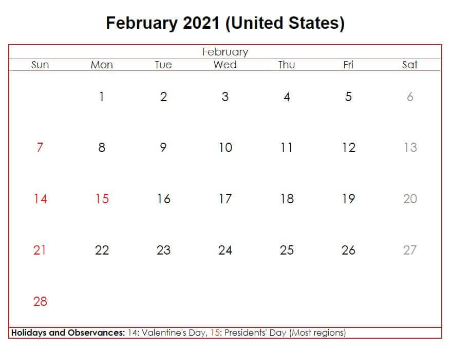 February 2021 USA Holidays Calendar