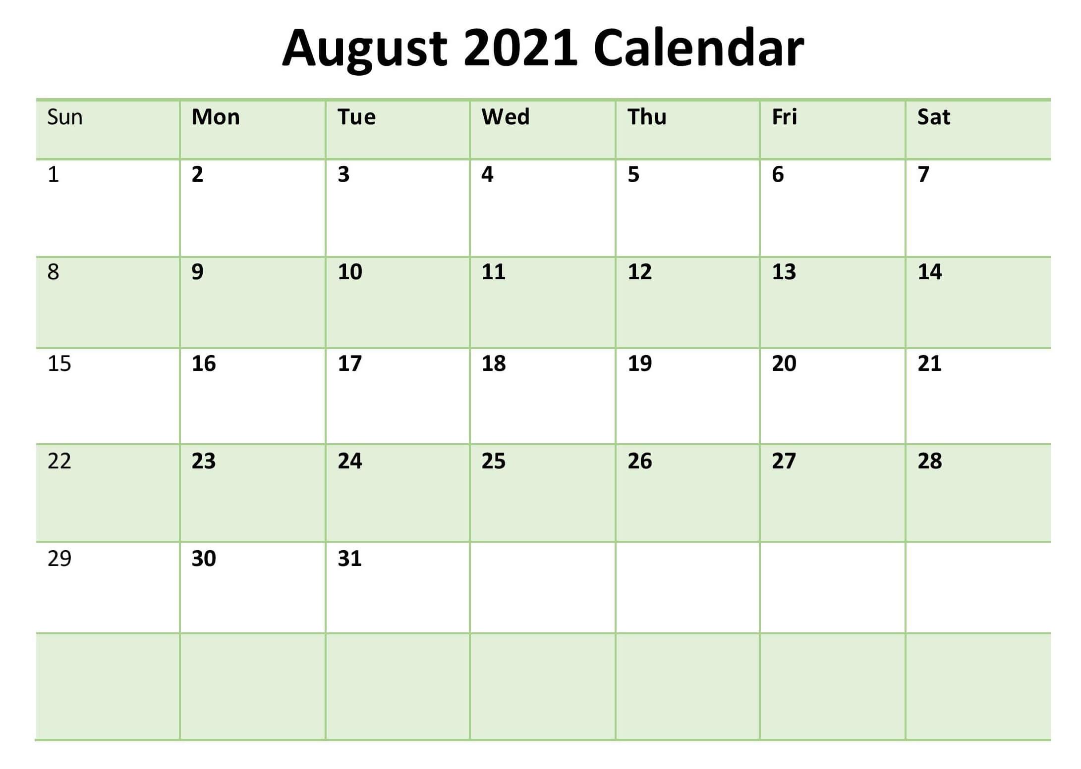 Fillable August 2021 Calendar Template