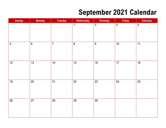 Fillable September Calendar 2021