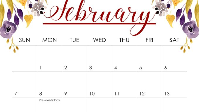 Floral 2021 February Cute Calendar