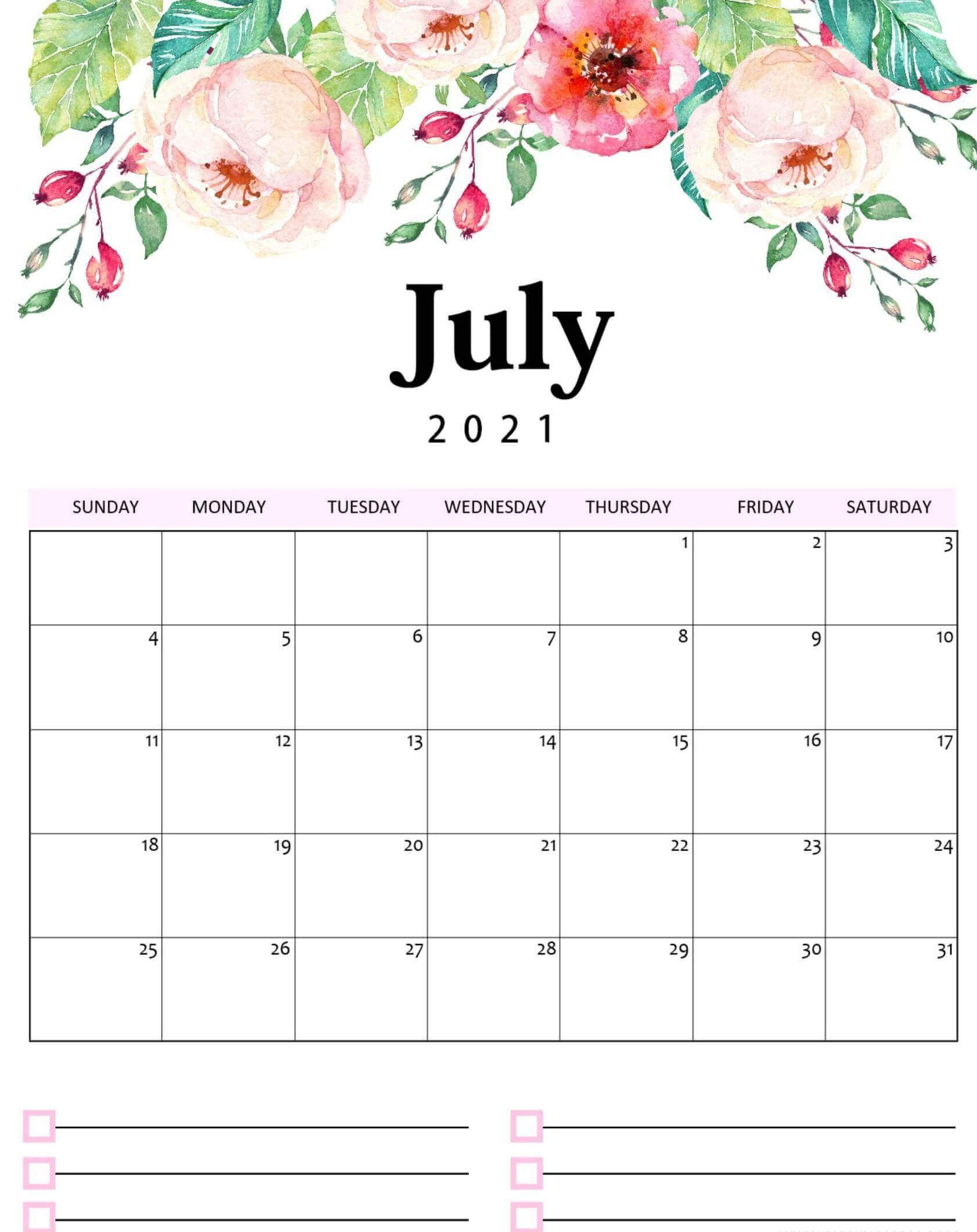Floral Calendar For July 2021