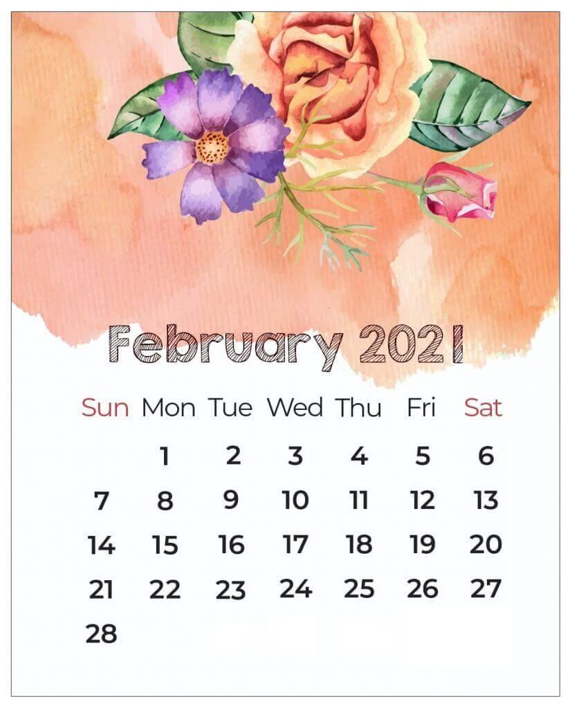 Floral February 2021 Calendar Template