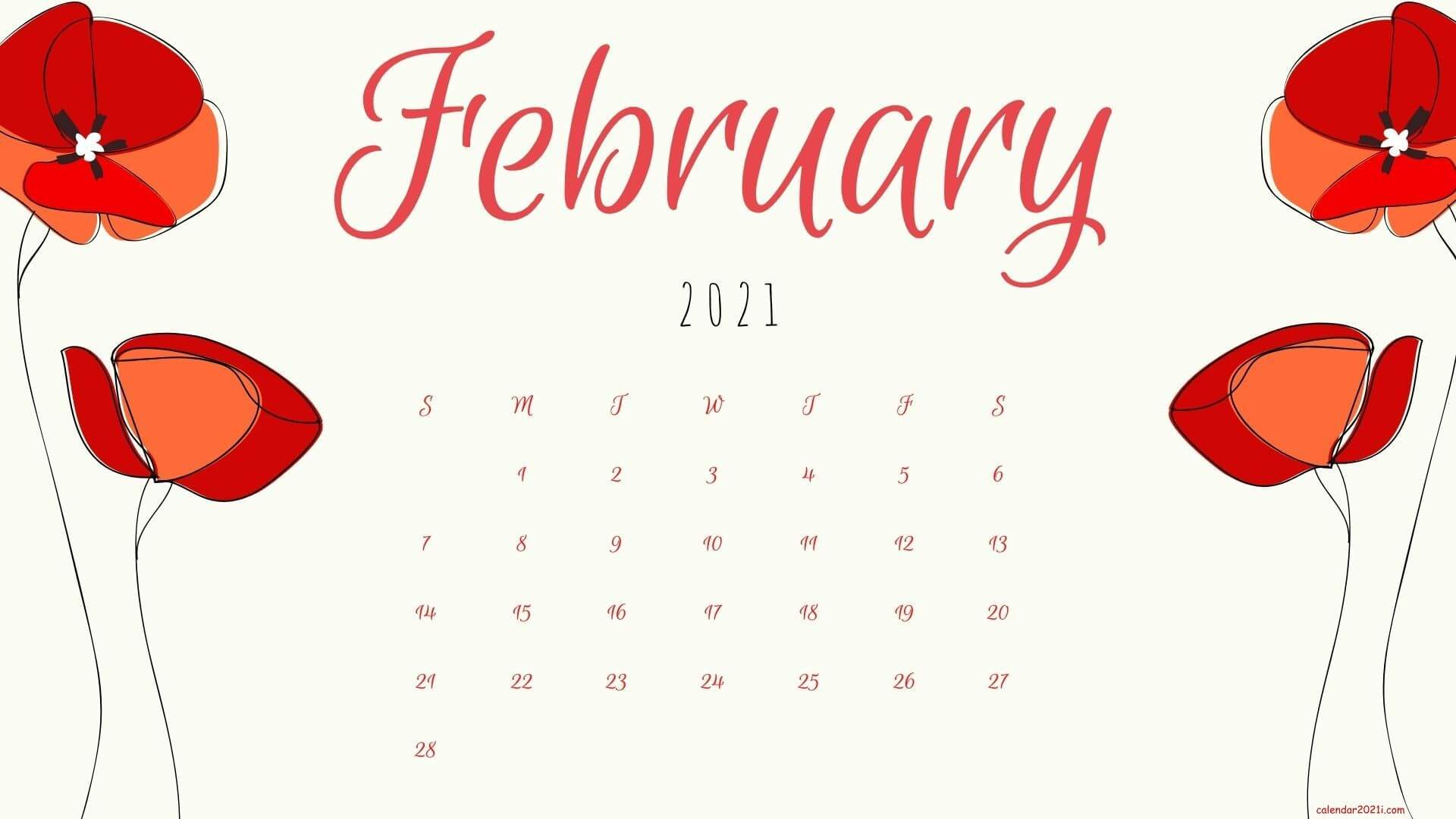 Floral February 2021 calendar Wallpaper