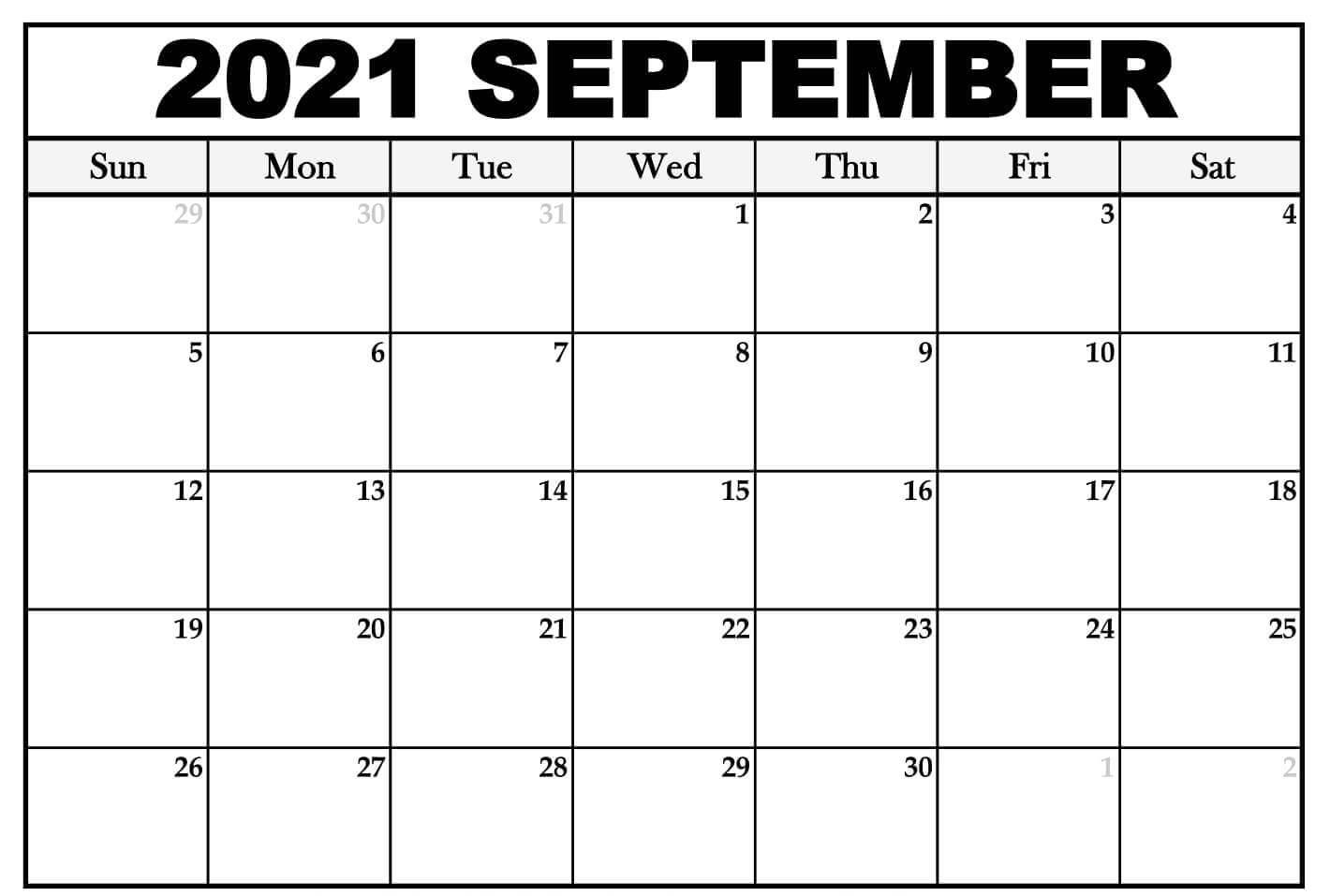 Free Blank September Calendar 2021