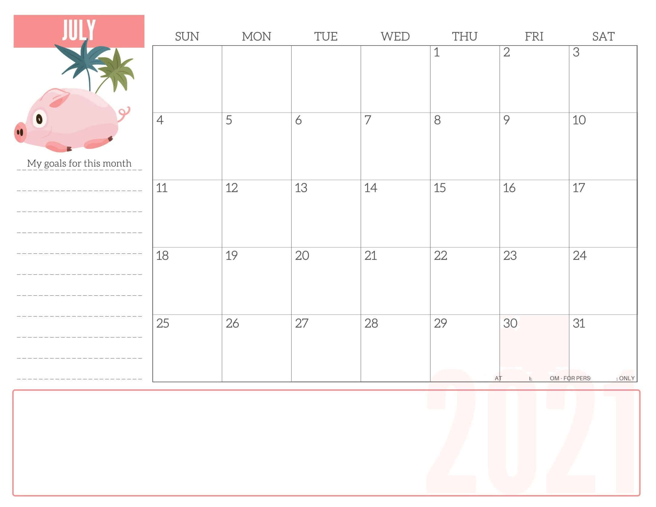 Free Calendar of July 2021 Printable