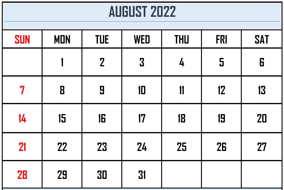 Free Printable August 2021 Calendar Blank