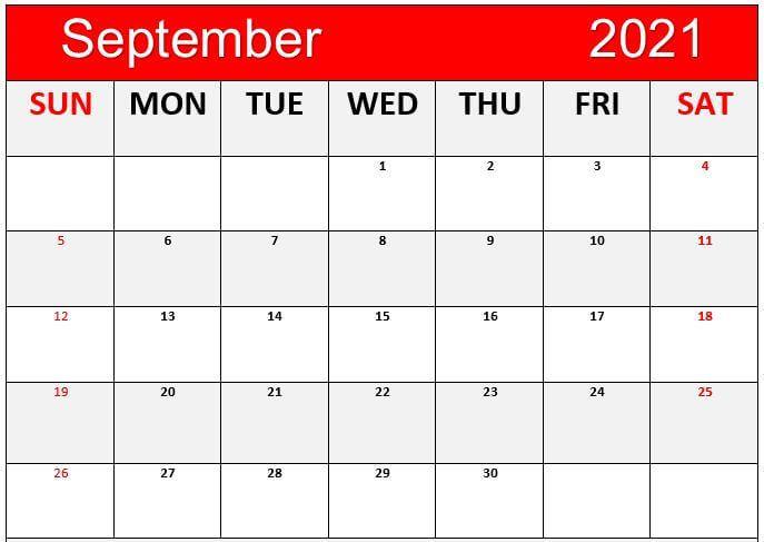 Free Printable September 2021 Calendar Cute