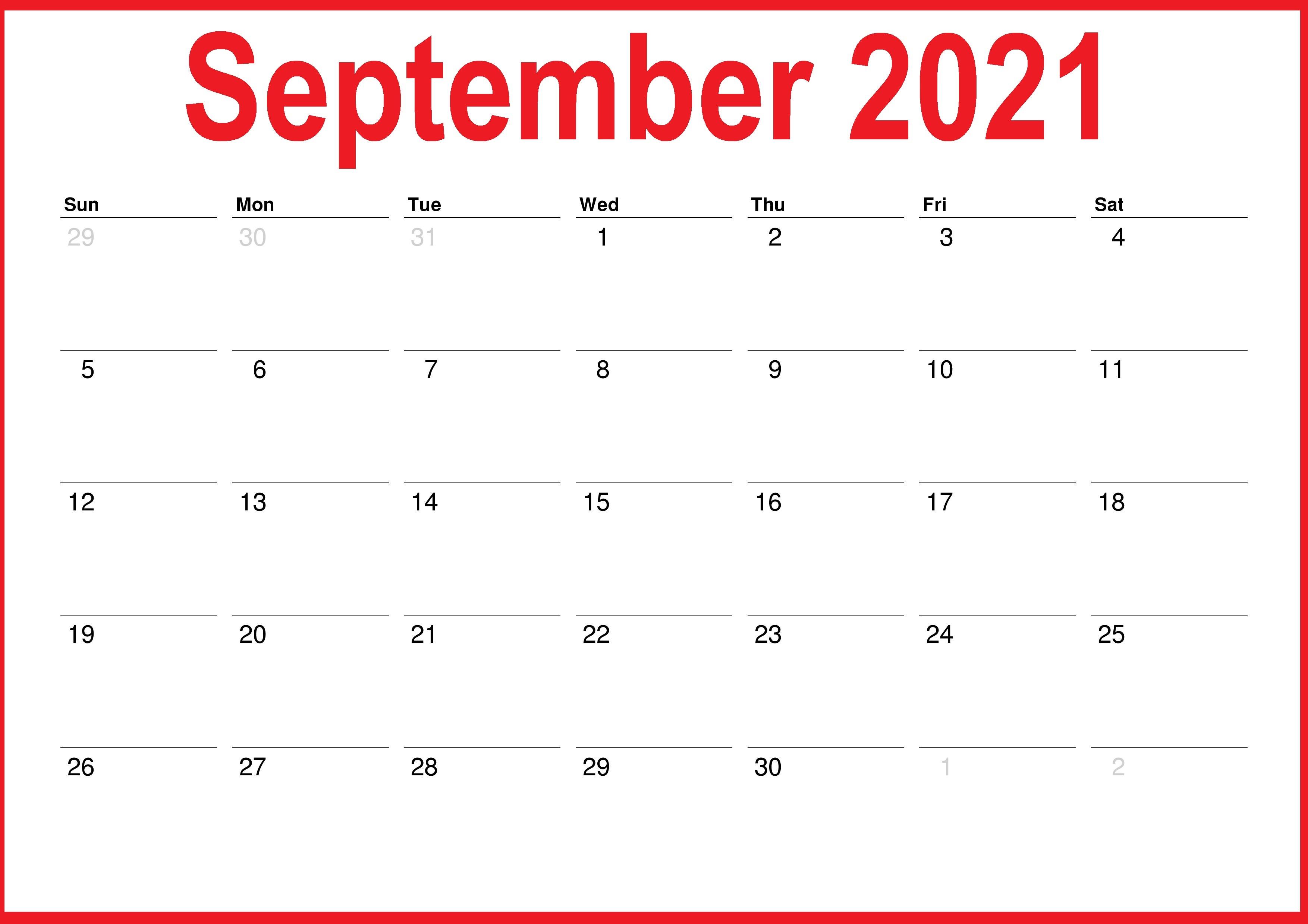 Free PrintableSeptember 2021 Calendar