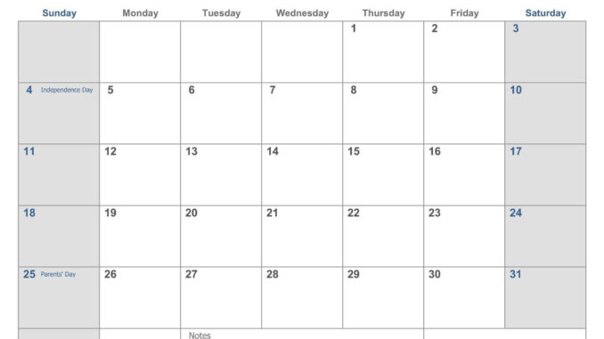 July 2021 Holidays Calendar