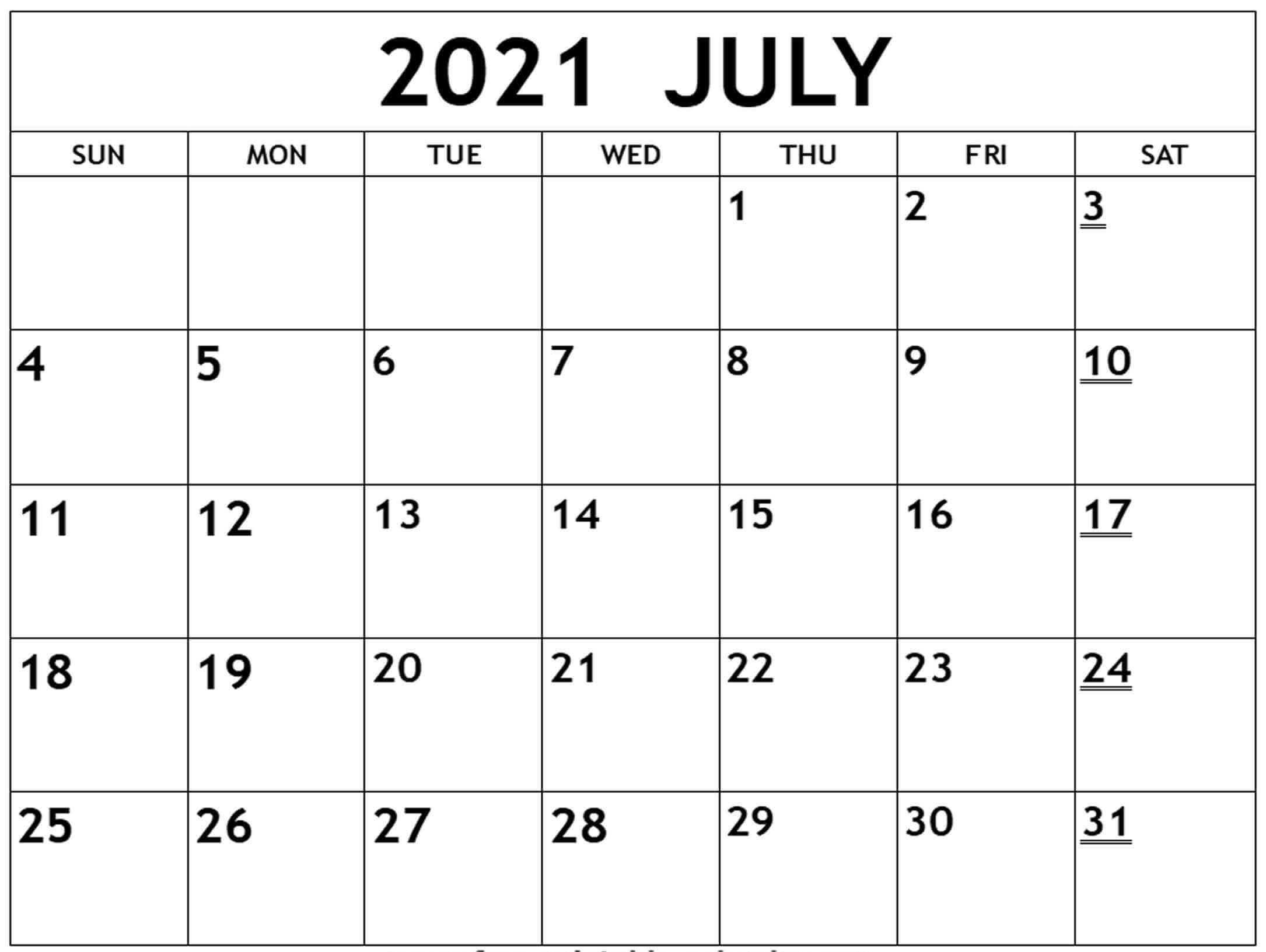 Monthly Blank Calendar For July 2021