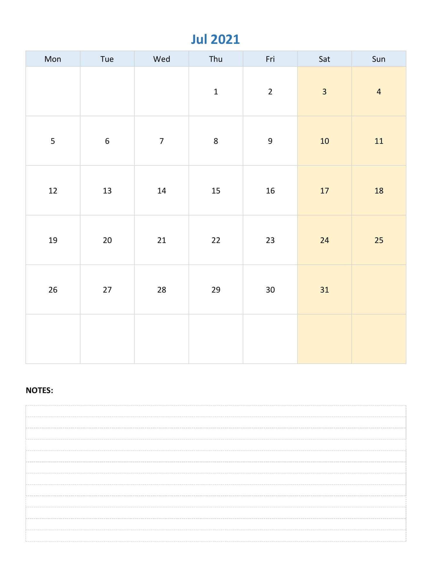 Print July Calendar 2021 With Notes