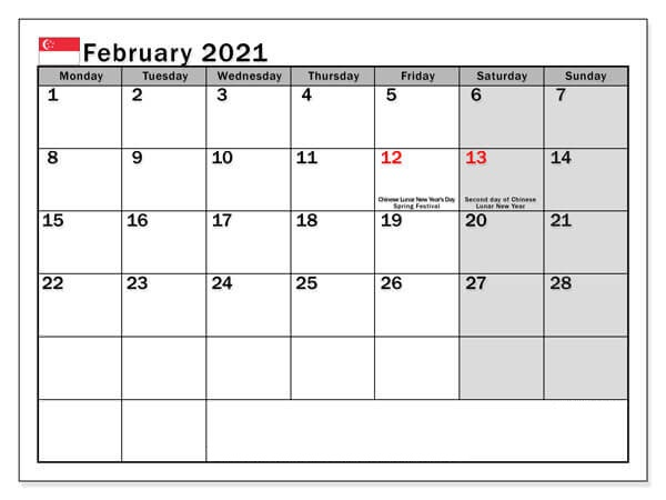 Printable February 2021 Singapore Calendar with Holidays