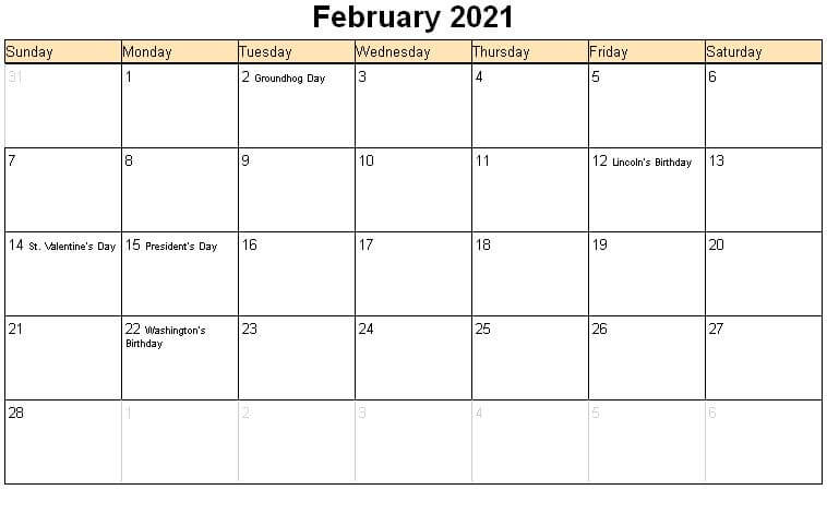 Printable February Holidays 2021 Calendar