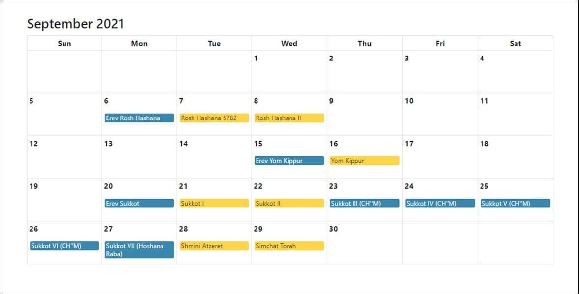 Sep 2021 Jewish Holidays