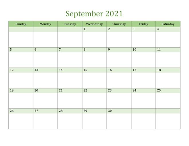 September 2021 Calendar Fillable