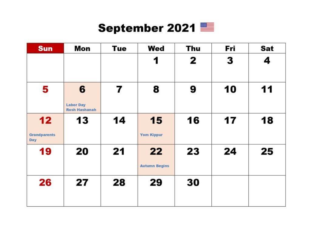 September 2021 Calendar with USA Holidays