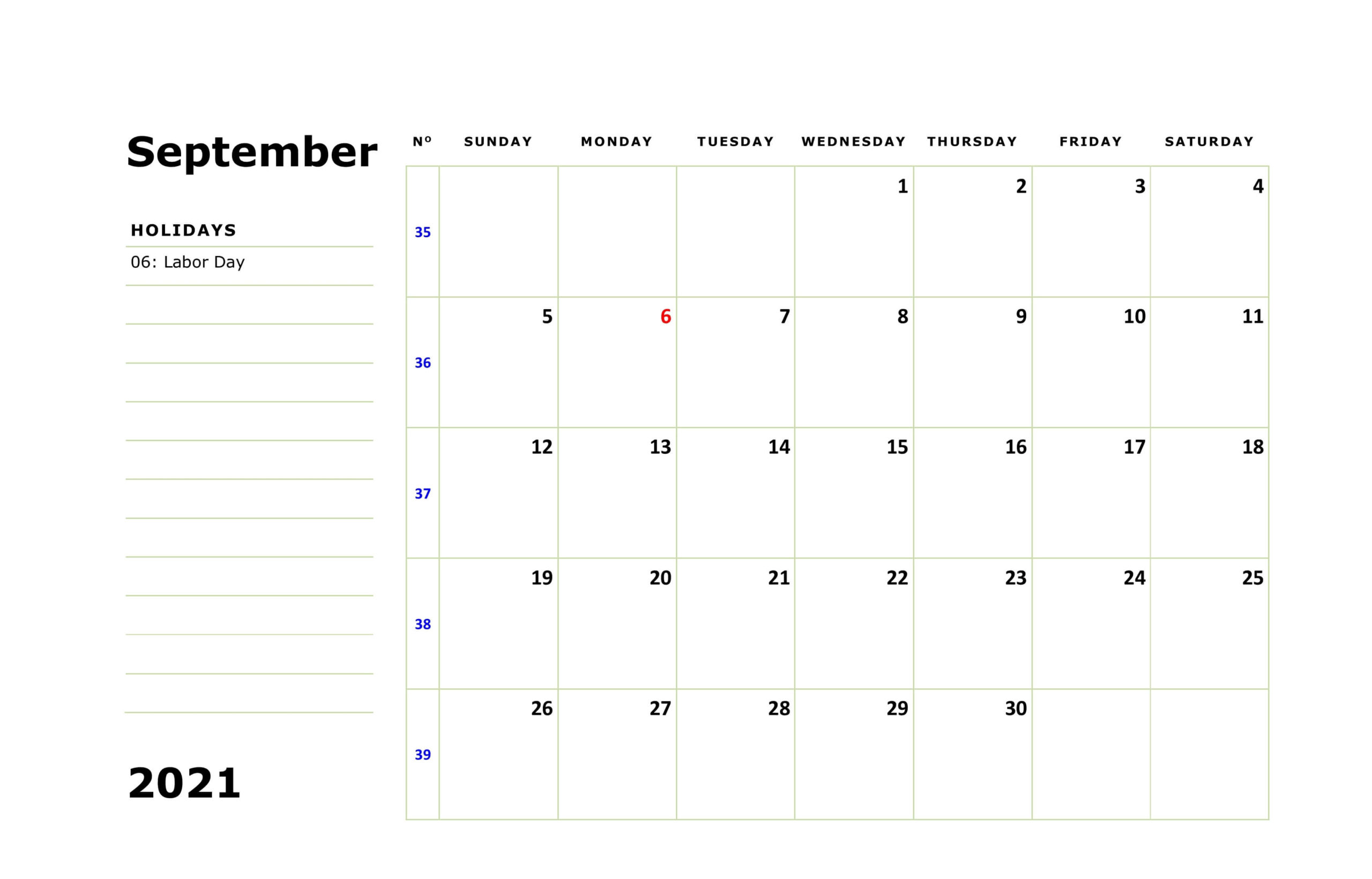 September 2021 Holidays Calendar