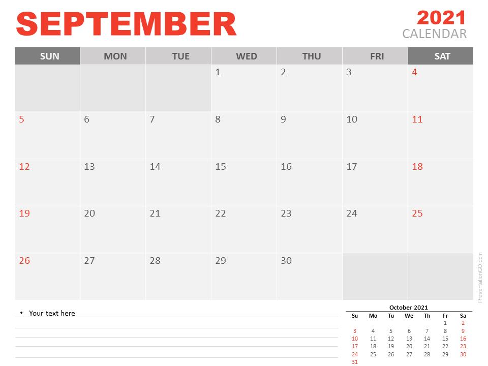 September 2021 Office Desk Calendar