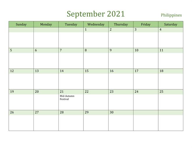 September 2021 Philippines Holidays Calendar