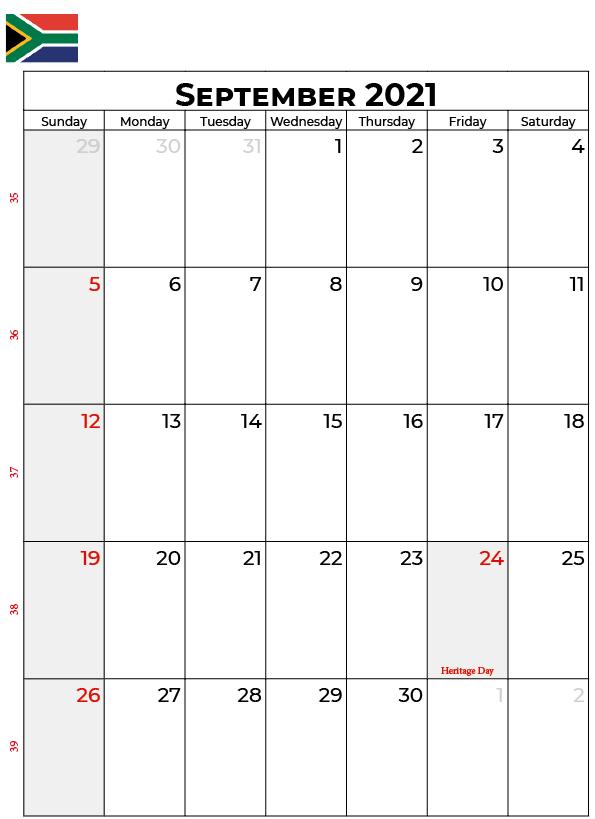 September 2021 Calendar With Holidays South Africa