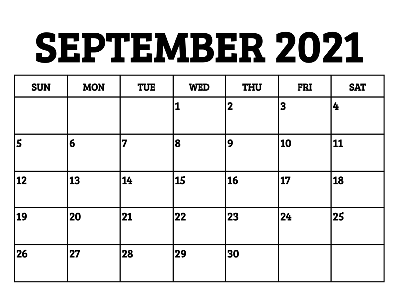 September Calendar 2021