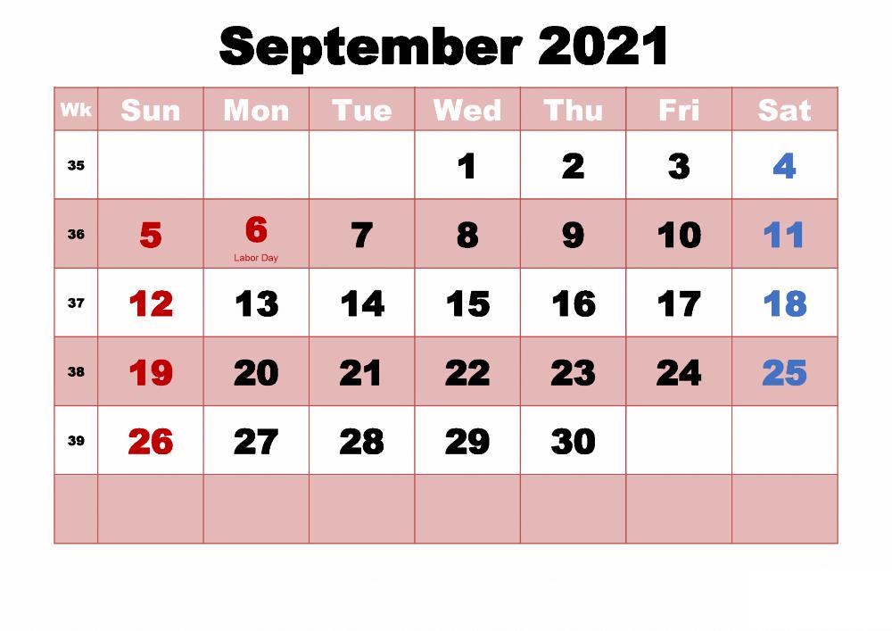 September Holidays Calendar 2021
