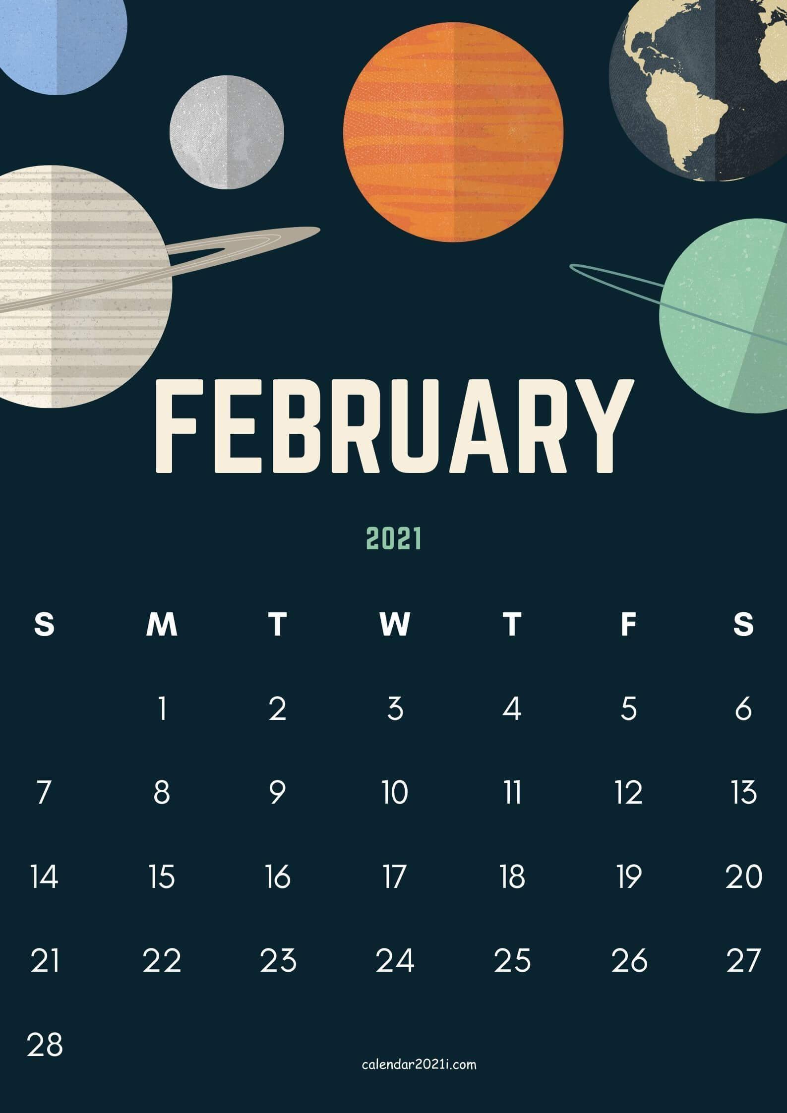 iPhone February 2021 Calendar Wallpaper