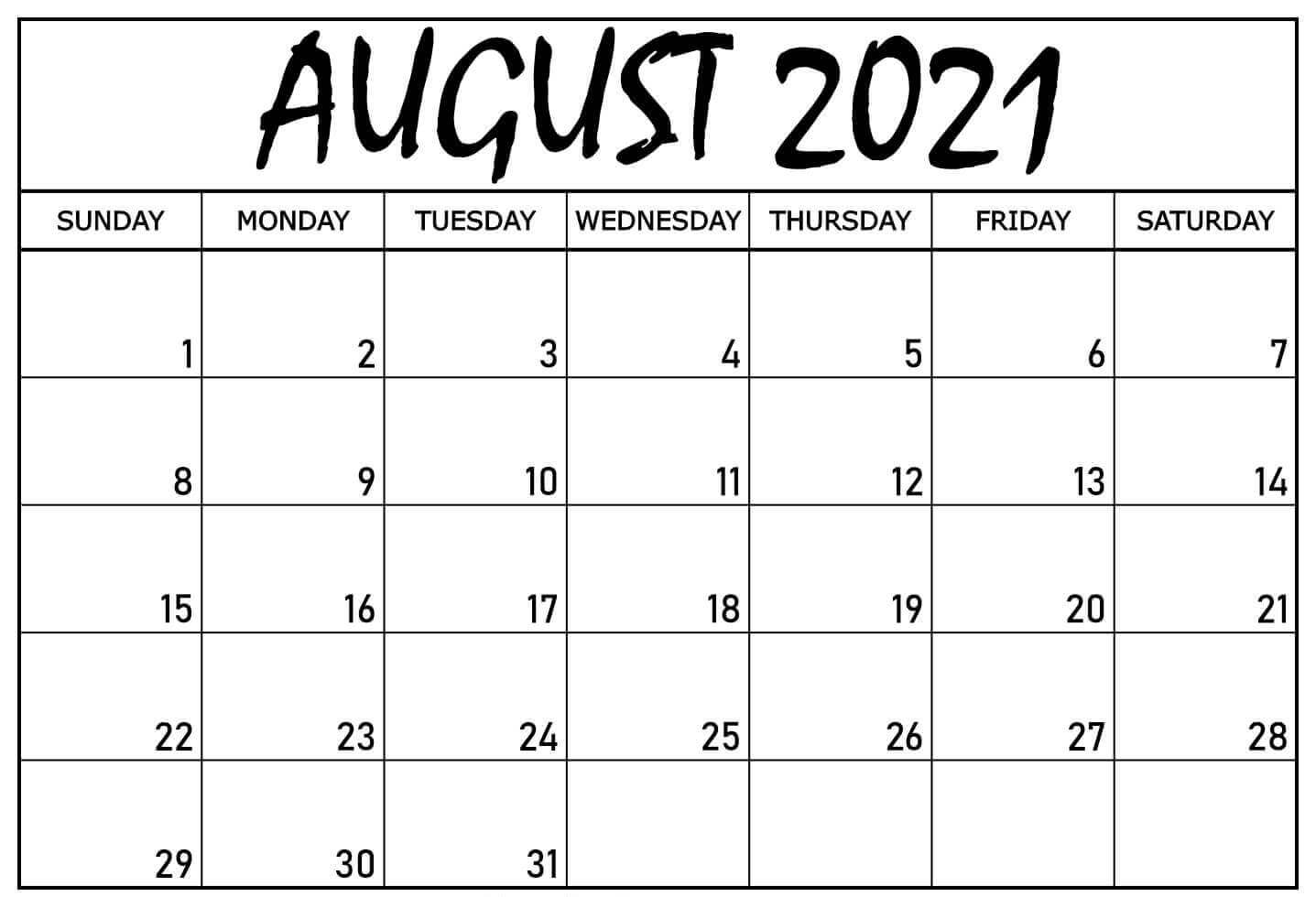 monthly Blank Calendar Template August 2021